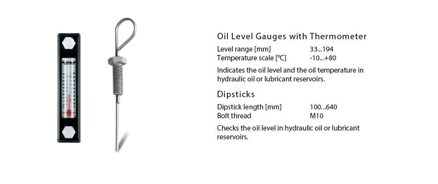 Oil Level Gauges with Thermometer and Dipsticks